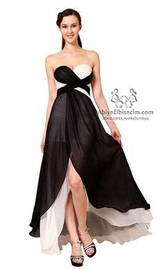 uzun kısa elbise strapless çapraz