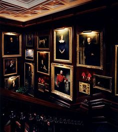English Club Style with paneling, portraits and dashes of red