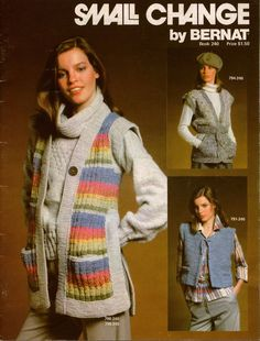 Bernat 240 Small Change Vest Knitting Crochet Patterns Women Men Fisherman 1978 #Bernat