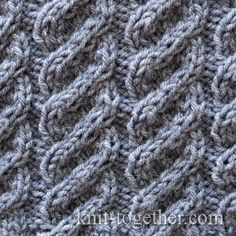 Twisted Cable Pattern 1, knitting pattern chart, Cable and Twisted Stitch Patterns