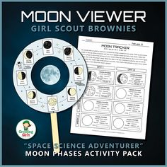 Girl Scout Brownies - Space Science Adventurer Badge - Step 3 - Brownies investigate the moon by crafting a paper moon viewer that they use to help them observe and record the moon's phases for four weeks. Girl Scout Law, Girl Scout Leader, Girl Scout Brownie Badges, Girl Scout Activities, Stem Activities, Girl Scout Camping, Girl Scout Juniors, Daisy Girl Scouts, Girl Scout Crafts