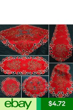 Quinnyshop Table Runners Home, Furniture & DIY Christmas Table Cloth, Hand Embroidery Designs, Table Toppers, Red Christmas, Doilies, Table Runners, Home And Garden, Tulip, Ebay