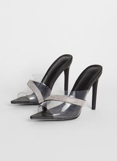 Clearly Sparkly Jeweled PVC Pumps BLACK ROSEGOLD GoJane