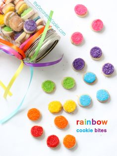 jar of sparkly rainbow cookie bites
