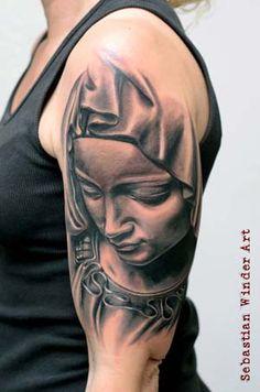 de La Pieta Tattoo heilige Maria Mutter Gottes Religious Tatt… www. La Pieta Tattoo Holy Mary Mother of God Religious Tattoo Forarm Tattoos, Rose Tattoos, Black Tattoos, Body Art Tattoos, Sleeve Tattoos, Tatoos, Virgen Maria Tattoo, Tattoo Maria, Religion Tattoos