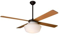 Schoolhouse Ceiling Fan, Maple Blades.  Change den ceiling fan out to something like this?  $476.  Maybe need more streamlined look.  No light?