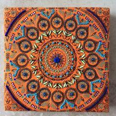 Hand beaded Shwe Shwe square panel stretched over an eight inch art canvas. Zentangles, Fractals, Beach Mat, Mandala, Canvas Art, Outdoor Blanket, Inspiration, Biblical Inspiration, Zentangle