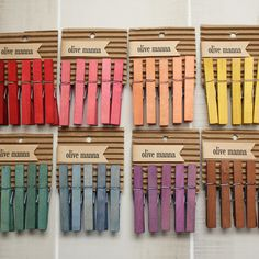 stained clothespins by Olive Manna via papernstitch.com $10
