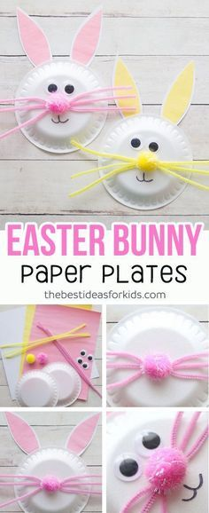 Easter Craft for Kids - this paper plate Easter Bunny craft is so cute and easy . - - Easter Craft for Kids – this paper plate Easter Bunny craft is so cute and easy to make! Kids will love helping to make this easy Easter craft. Spring Crafts For Kids, Easter Projects, Bunny Crafts, Easter Crafts For Kids, Toddler Crafts, Preschool Crafts, Projects For Kids, Craft Projects, Craft Ideas