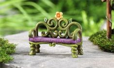 Miniature-Dollhouse-FAIRY-GARDEN-Fairytale-Bench-NEW