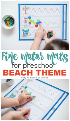 These preschool beach theme printables are fantastic for writing centers to help children master prewriting skills that are necessary for their future! Writing Center Preschool, Writing Activities For Preschoolers, Writing Centers, Activities For 2 Year Olds, Pre Writing, Motor Activities, Preschool Centers, Beach Activities, Beach Theme Preschool