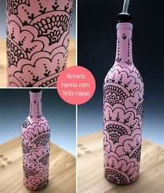 Painted Glass Bottles, Glass Bottle Crafts, Wine Bottle Art, Diy Bottle, Painted Wine Glasses, Bottles And Jars, Glass Painting Designs, Pottery Painting Designs, Do It Yourself Quotes