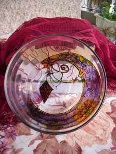 Hand Painted Violet Glass Bowl with Moon Pattern by Anumvella