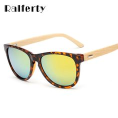 >> Click to Buy << Ralferty Handmade Original Bamboo Wood Sunglasses Women Gold Wood Glasses Frames Flash Mirrored Eyewear Shades bambu Oculos #Affiliate