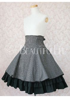 Black And White Check Pattern Cotton Natural Knee-length Lolita Skirt With Black Ruffles Hemline