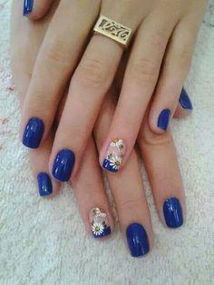 ☺ Blue Gel Nails, Aycrlic Nails, Sexy Nails, Hair And Nails, Art Deco Nails, Gel Nail Art, Football Nails, Natural Acrylic Nails, Finger Nail Art