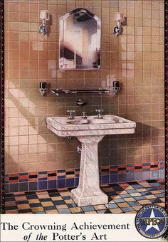 1929 Tepeco Tile Bathroom Tepeco is another company to research. They tended to offer interesting, more stylized tile installations and fixtures. Note the unusual gold marbleized effect on the pedestal sink. The mixed tile on the floor with the colorful 1920s Bathroom, Peach Bathroom, Mid Century Bathroom, Art Deco Bathroom, Vintage Bathrooms, Bathroom Interior, Bathroom Ideas, Unusual Bathrooms, Tiled Bathrooms
