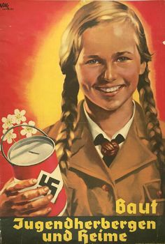"In the last days of the war, some members of the League of German Girls joined their male counterparts in ""last-ditch"" fighting against Allied forces, although this was never officially sanctioned by the regime. The girls mainly served an important secondary role – as this poster illustrates. Interestingly, although the poster claims money was nobly being raised to build youth hostels and homes, in fact, most of the donations were spent on weapons production."