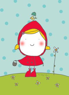 Little red riding hood (illustration by Miss Pink) Beautiful Artwork, Beautiful Dolls, Red Riding Hood Party, Little Red Ridding Hood, Learn To Fly, Stick Figures, Cute Illustration, Easy Drawings, Cute Kids