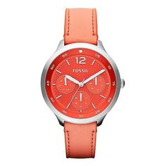 Fossil The Editor Watch ($65) ❤ liked on Polyvore featuring jewelry, watches, accessories, orange, fossil watches, leather strap watches, orange watches, buckle jewelry and water resistant watches