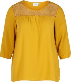 Blouse with details, Nugget Gold - Zizzi.no