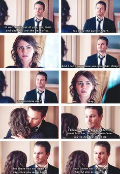 Arrow - Oliver & Thea #2.21 #Season2 I wish my bro was like that hes more the bump fist type lol