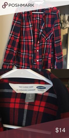 Old Navy Red Plaid Flannel Classic fit. From this past Fall. Old Navy Tops Button Down Shirts