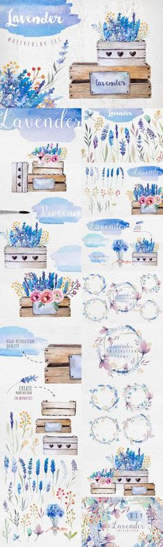 Creativemarket - Lavender watercolor DIY 339663