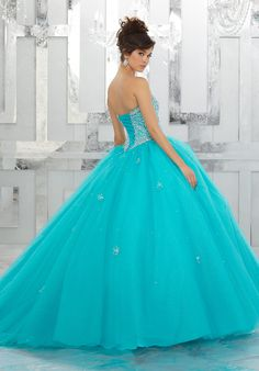 Allover Beaded Bodice on a Tulle Ball Gown Over Sparkle Tulle - Morilee Pretty Quinceanera Dresses, Quinceanera Party, Tulle Balls, Tulle Ball Gown, Wedding Bridesmaid Dresses, Prom Dresses, Ball Dresses, Sweet 15 Dresses, Princess Ball Gowns