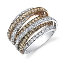 white and brown diamond ring set in white gold