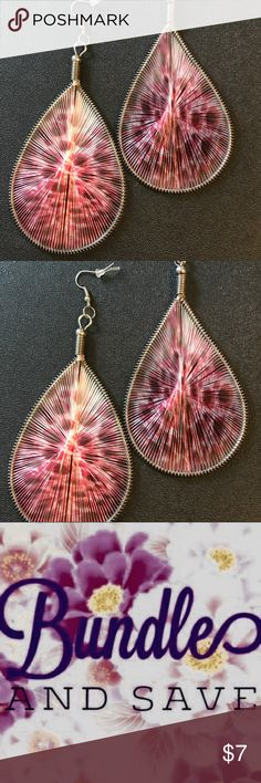 """Pink Peacock thread earrings Handmade, large pink thread earrings have unique peacock pattern design. Earrings measure approximately 4"""" tall, but are not very heavy. Surgical steel ear wires. Statement earrings! Free surprise jewelry gift with your purchase! Jewelry Earrings"""