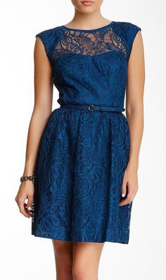 Cagney Lace Belted Dress great horizontal formal balance because each side is exactly the same