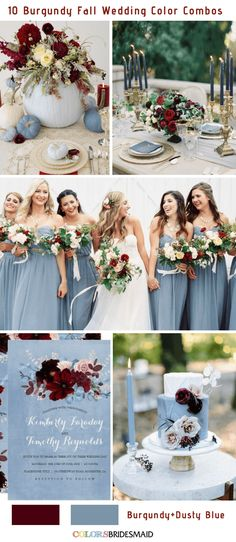 Fall wedding colors burgundy and dusty blue wedding themes Burgundy Wedding, Red Wedding, Wedding Flowers, Wedding Summer, Autumn Wedding, Wedding Bells, Wedding Themes, Wedding Decorations, Wedding Ideas