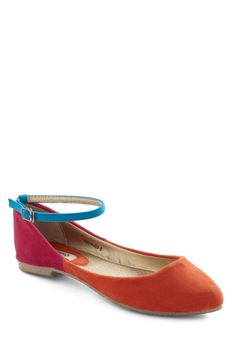 Palette It Be Flat - Orange, Blue, Pink, Solid, Colorblocking, Flat, Casual
