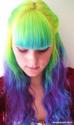 Neon green yellow and purple hair