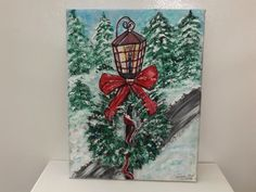 Acrylic on Canvas Old Style Christmas Lantern