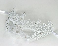 White Laser Cut Masquerade Mask with Clear Rhinestones -BA005WH