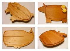 """The Mako Cutting Boards feature a selection of solid wood boards in the shape of animals and plants. The groove surrounding the edge prevents juices from leaking out. Their current selection allows you to purchase a cow or pig for cutting meat, a whale for cutting seafood, and an apple for cutting fruits and vegetables."" Nice hardwood boards."