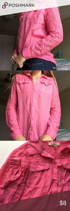 🍂 Pink crochet lace button down Pink crochet lace button down// size M// True Freedom Tops Button Down Shirts