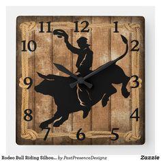 Rodeo Bull Riding Silhouette Square Wall Clock Bull Riding, Wall Clocks, Hand Coloring, Rodeo, Silhouette, Display, Artwork, Prints, Design