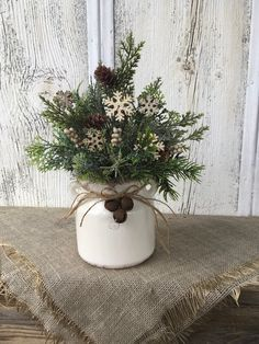 Excited to share this item from my shop: Winter Snowflake Arrangement, Winter White Decor, Christmas Centerpiece, Holiday Arrangement, Snowflake. Farmhouse Christmas Decor, Primitive Christmas, Rustic Christmas, Christmas Home, Christmas Holidays, Christmas Wreaths, Primitive Snowmen, Primitive Crafts, Christmas Christmas