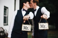 """Wedding photography idea - groom + groom with """"Mr.""""  + """"Mr."""" signs {River West Photography}"""