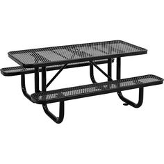 "72"" Rectangular Expanded Metal Picnic Table Black"