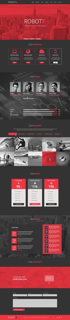 One Page Web Design Layout for ROBOTX