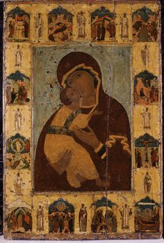 Russian Orthodox Icon  Vladimir Mother Of God (With Scenes). Xv Th Century. Early Christian, Christian Art, Madonna, Best Icons, Russian Orthodox, Byzantine Art, Religious Icons, Art Icon, Orthodox Icons