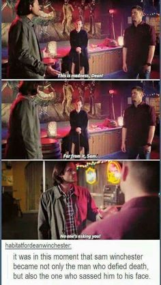 Habttatfordeanwinchester: It was m this moment that sam Winchester became not only the man who defied death. but also the one who sassed him to his face - iFunny :) Destiel, Fangirl, Supernatural Memes, Supernatural Playlist, Supernatural Season 10, Spn Memes, Winchester Boys, Winchester Brothers, Super Natural