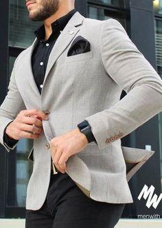 de mode pour hommes ID: 4459005221 Blazer Outfits Men, Mens Fashion Blazer, Stylish Mens Outfits, Suit Fashion, Fashion Boots, Blazer Suit, Casual Outfits, Formal Men Outfit, Mode Costume
