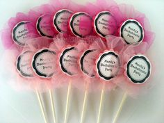 Bachelorette Cupcake Toppers Pink Tulle by chocolatetulipdesign, $15.00