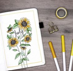 The best sunflower bullet journal inspiration. I'm so excited that I found these great sunflower bullet journal ideas. Sunflower cover page bullet journal! Bullet Journal Cover Page, Bullet Journal 2019, Bullet Journal Notebook, Bullet Journal Inspo, Bullet Journal Ideas Pages, Journal Covers, Journal Pages, Bullet Journal Inspiration Creative, Bullet Journal Monthly Spread