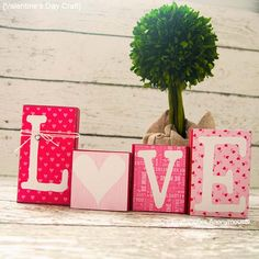 DIY Valentine Decor Ideas - Easy DIY Love Blocks - Cute and Easy Home Decor Projects for Valentines Day Decorating - Best Homemade Valentine Decorations for Home, Tables and Party, Kids and Outdoor - Romantic Vintage Ideas - Cheap Dollar Store and Dollar Tree Crafts http://diyprojectsforteens.com/diy-valentine-decor-ideas